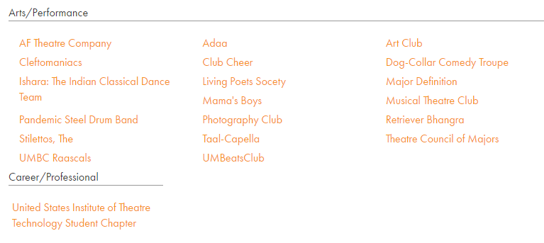 Performing Arts Clubs Available At UMBC